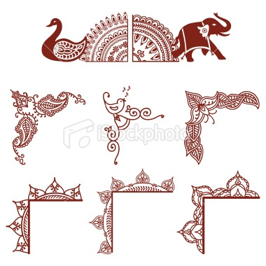 Indian Culture, Henna Tattoo, Pattern, Design, Elephant, Frame, Vector, Swan, Leaf, Elegance, At The Edge Of World,  {via HiDesignGraphics istockphoto.com}