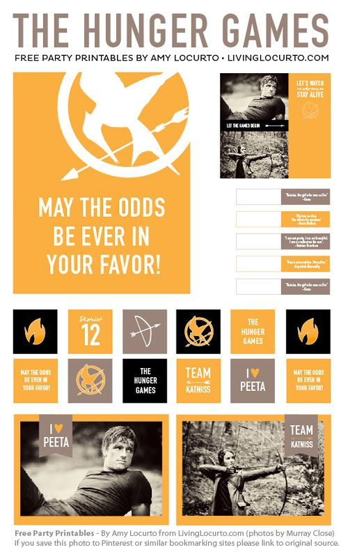 Free Printables for The Hunger Games party by @Amy Locurto  of LivingLocurto.com  Thanks Amy!!