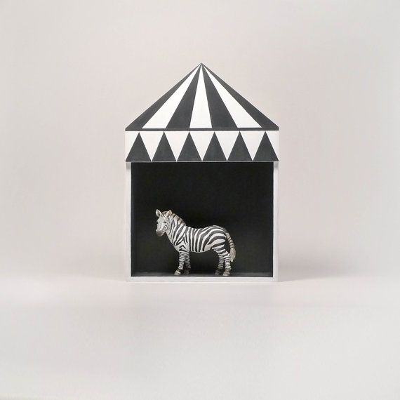 Kids room decor, circus shelf, plywood childrens furniture, childrens gift idea, black, white, minimal retro style