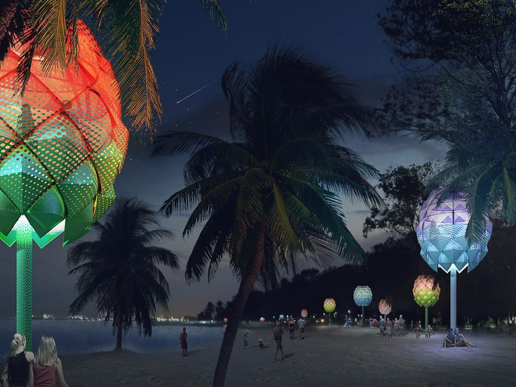 8Beach Hut in Singapore, by Spark Architects. These huts designed for the coasts of oceans are made of discarded plastics found among the beaches in Southeast Asia. Each hut includes a solar panel that energizes the LED lights that illuminate the structure at night. The creators hope that beachgoers will enjoy its color while also learning about the harmful effects of ocean pollution.