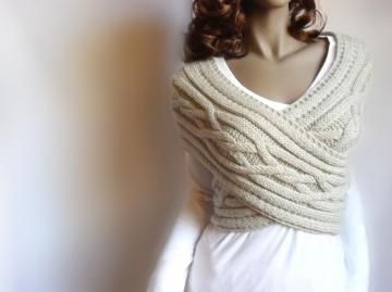 Hand Knit Vest Womens knit waistcoat Wrap sweater Cabled Sewater  Cowl Sweater by Pilland for $110.00 #zibbet #knitting #knitsweater