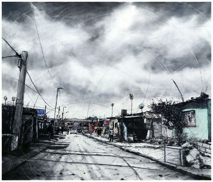 An original work by Phillemon Hlungwani entitled: Selborn Street and 11th Avenue, ALEX I mixed media on canvas 140 x 160cm For more please visit www.finearts.co.za