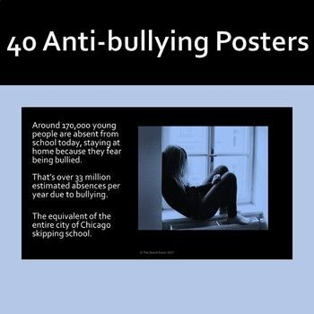 There is no doubt that bullying is a problem in U.S. schools, but just how much of a problem is it? This set of 40 anti-bullying posters provide unforgettable images of the painful impact of bullying, together with statistics about bullying in the USA, quotes from victims and messages about the importance of intervention by bystanders.
