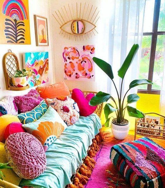 8 nuevas ideas de reciclaje con revistas usadas - Conciencia Eco Living Room Decor, Bedroom Decor, Bedroom Colors, Wall Decor, Colourful Living Room, Aesthetic Room Decor, Cheap Home Decor, Home Decor Inspiration, House Colors