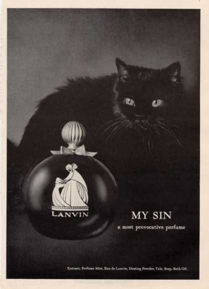 Rare Lanvin My Sin French Perfume Blk Cat (1964)