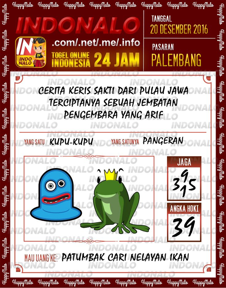 Undian Lotre 4D Togel Wap Online Live Draw 4D Indonalo Palembang 20 Desember 2016