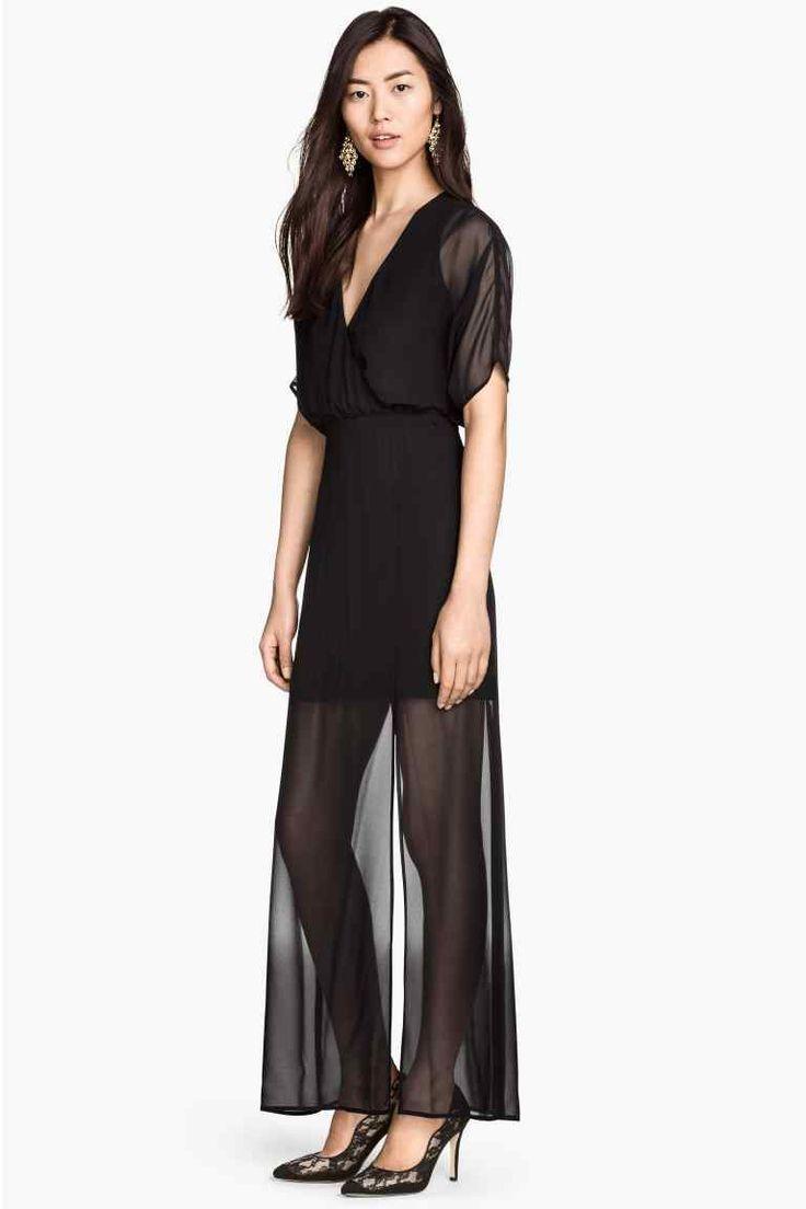 Vestido largo cuello de pico | H&M