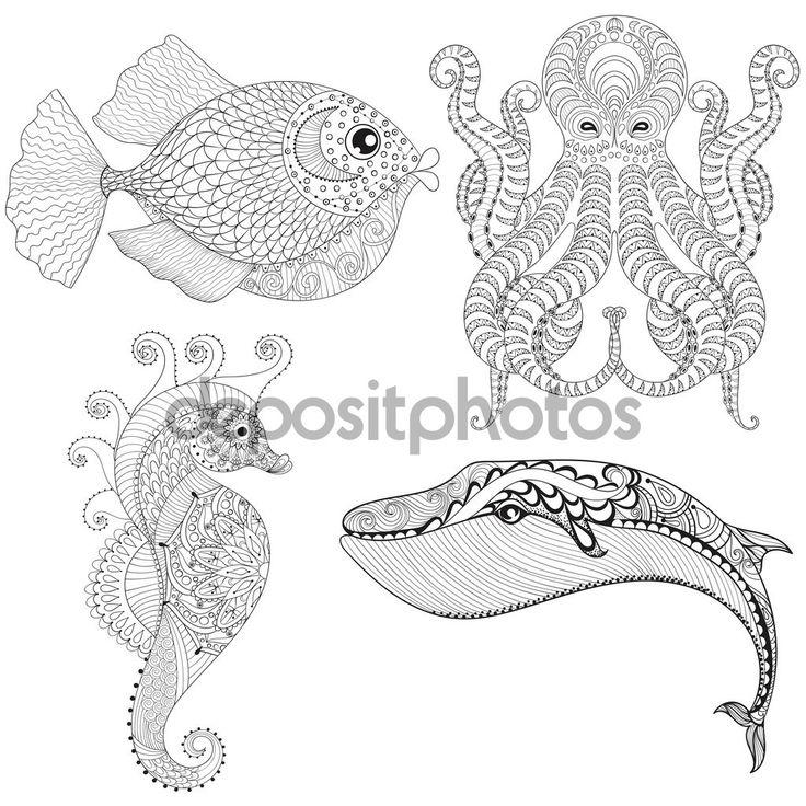 Рука нарисованные zentangle художественных осьминог, морской конек, Кит, рыбы fo…