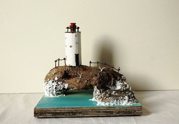 Driftwood Lighthouse and Waves and cliff by TTassel on Etsy