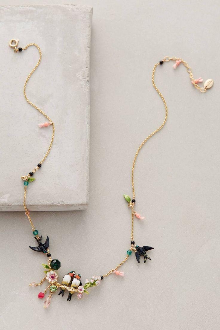 Lovebird Wreath Necklace by Les Nereides #anthrofave #anthropologie