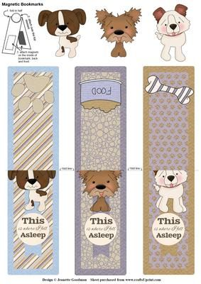 Cute puppy dog magnetic bookmarks on Craftsuprint designed by Jeanette Goodman - Make your own magnetic bookmarks. These bookmarks feature a set of three cute puppies.These bookmarks fold in half over your book page to mark where you are up to. Not only can they be inserted vertically in a book like other bookmarks, but they can also mark from the side (horizontally), so you can mark exactly where you are up to on the page. - Now available for download!