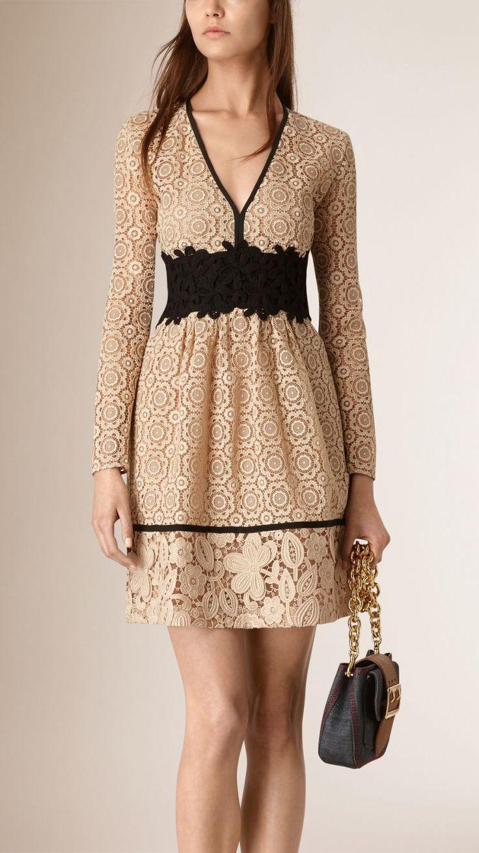 Empire Line Patchwork Lace Dress