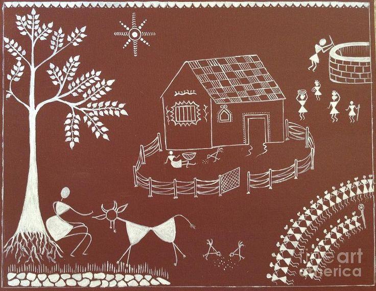 Warli Paintings - Warli  Warli Painting On Bedroom Wall