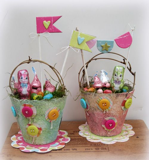 441 best easter pots images on pinterest easter ideas easter really cute easter baskets made from peat pots negle Choice Image