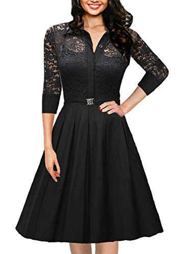 All the girls at Crossdress Boutique adore this 1950's style ¾ length sleeve dress, it's so cute and feminine. See it here: http://www.crossdressboutique.com/info/vintage-1950s-style-¾-sleeve-black-lace-flare-a-line-dress/