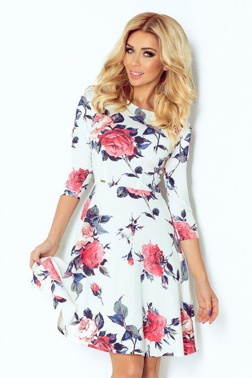 Rozkloszowana sukienka w róże fashion4u.pl