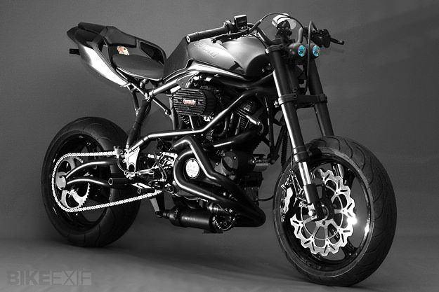 Not the biggest sport bike fan, but this custom Ducati tooks nice. Buell custom motorcycle by Santiago Chopper