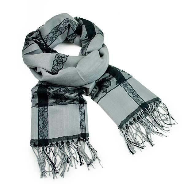 Šála kašmírová klasická 69fx009-71.70 - šedá s krajkovým potiskem - Bijoux Me!