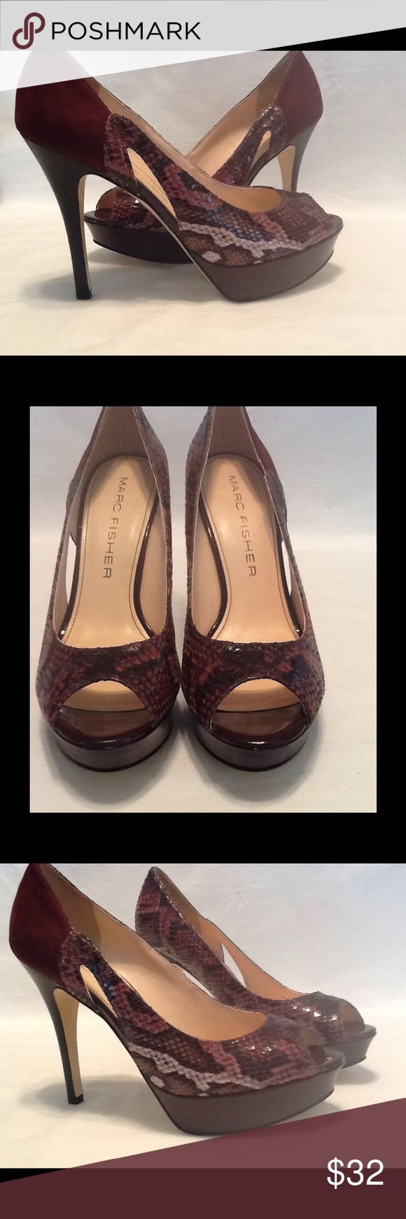 """Marc Fisher reptile print platform stilettos New Mark Fisher """"Tumble"""" burgundy reptile print /suede look peeptoe platform stilettos size 8M . Beautiful pair of shoes in new condition Shoes Platforms"""