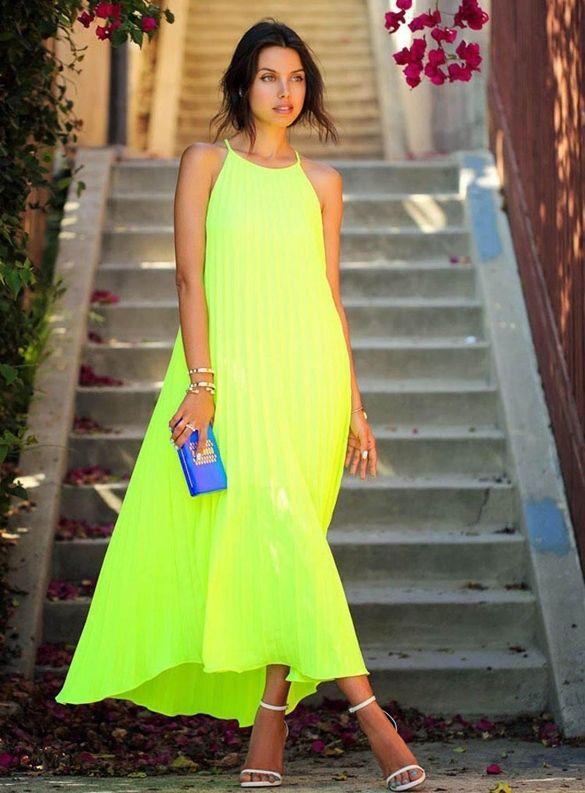 Maxi vestito CHIFFON PLISSETTATO VERDE ACIDO neon abito lungo smanicato estivo