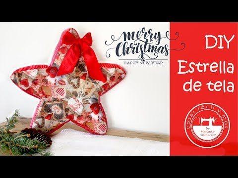 Decoración navideña: una estrella de tela - YouTube