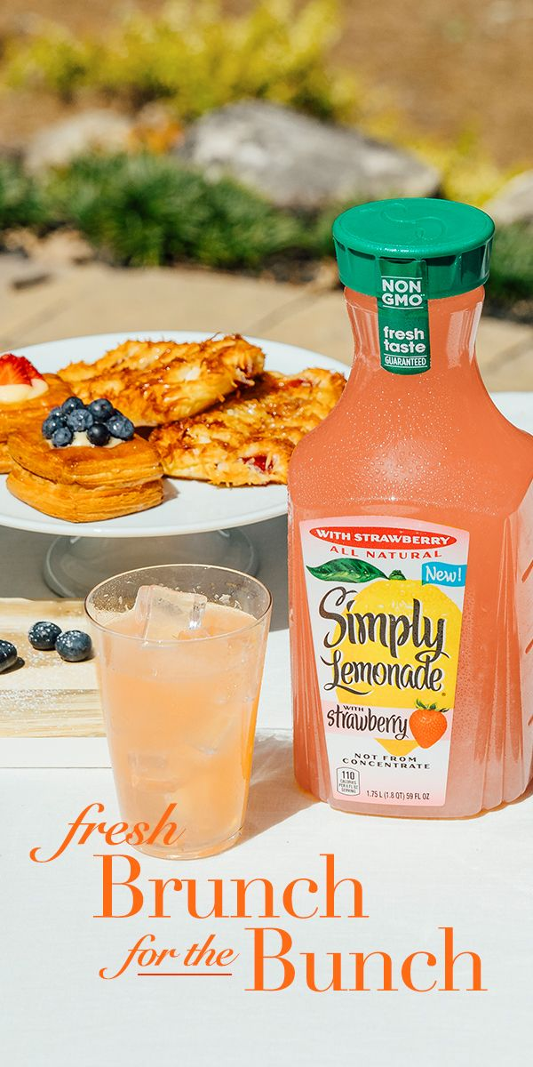 Add the refreshing all-natural taste of Simply Lemonade with Strawberry to take your brunch to the next level.