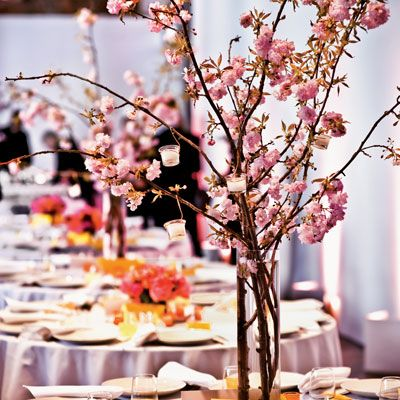 Wedding Ideas: Cherry Blossoms are used in Japanese culture. To use in a Chinese wedding try orchids sprays.