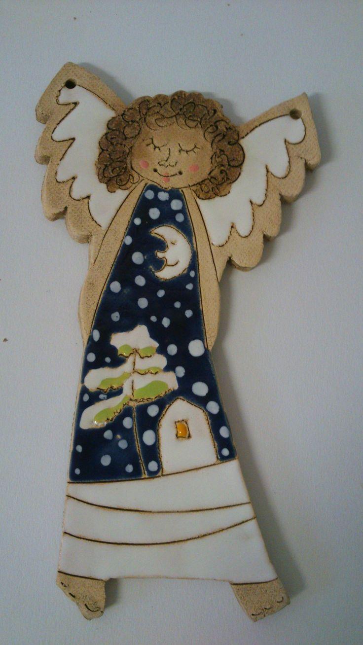 Anděl zimní Keramický obrázek- Andělínka, na zavěšení  17.5 cm