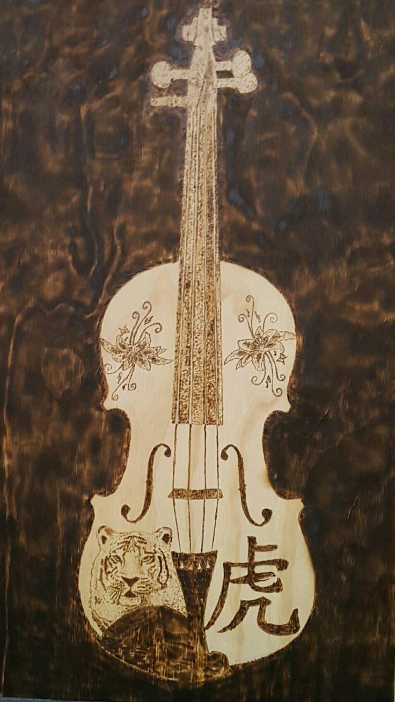 Violin pyrography by hady al hayek