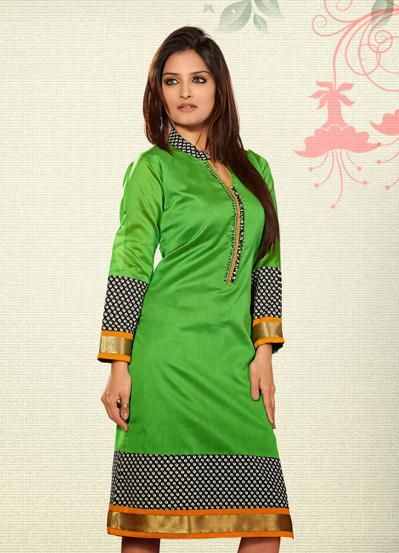 USD 34.41 Green Silk Printed Knee Length Kurti  31944
