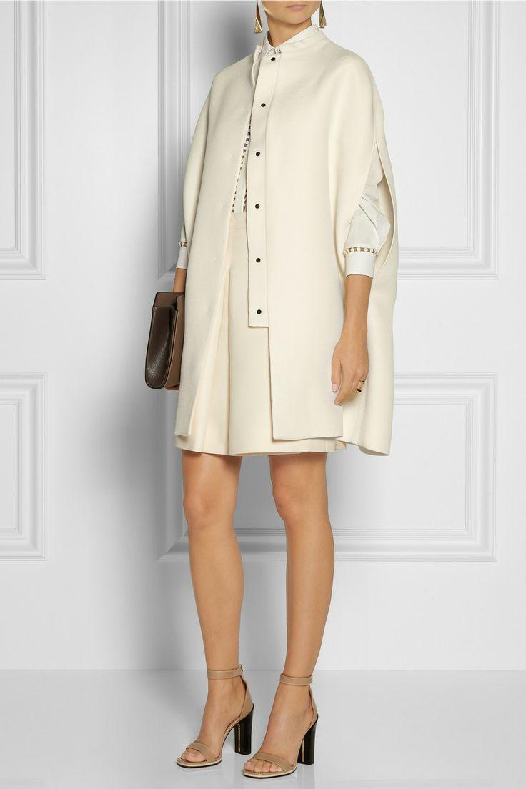 Valentino|Wool and silk-blend twill cape
