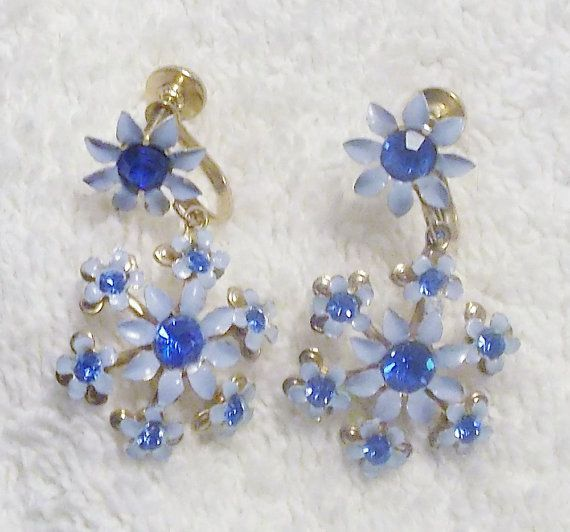 Stunning-vintage-1960s-bright-blue floral earrings.