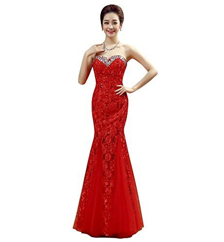 d72c385ff99 Drasawee Women s Strapless Mermaid Sequins Tulle Wedding Party Prom Evening  Dress Red US12
