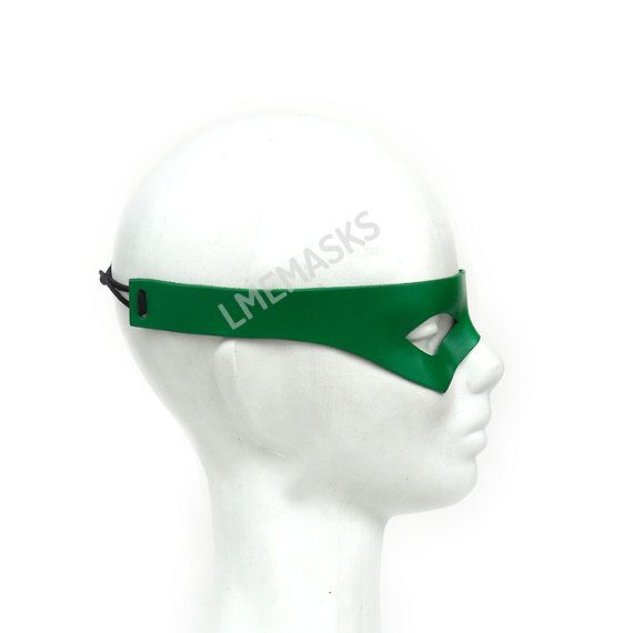 Green Leather Mask Arrow Robin Nightwing Rockabilly by LMEmasks