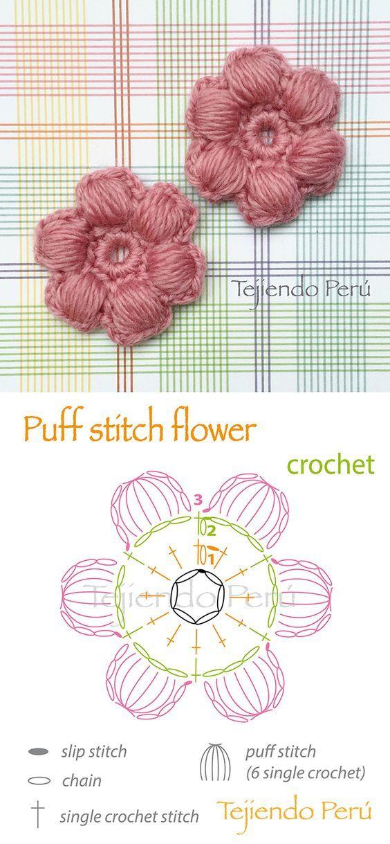 Crochet: puff stitch flower diagram! ༺✿ƬⱤღ✿༻: