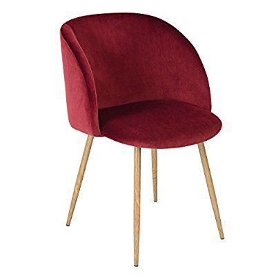 Sedoso Terciopelo Sillón de Relajación ,Sillón salón en estilo retro escandinavo,Silla de la sala de estar con piernas de acero fuerte y tela de terciopelo - Vino rojo