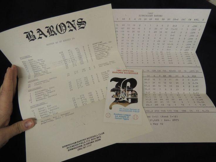 1982 Birmingham Barons Baseball Schedule AA Detroit Tigers MLB Program Roster