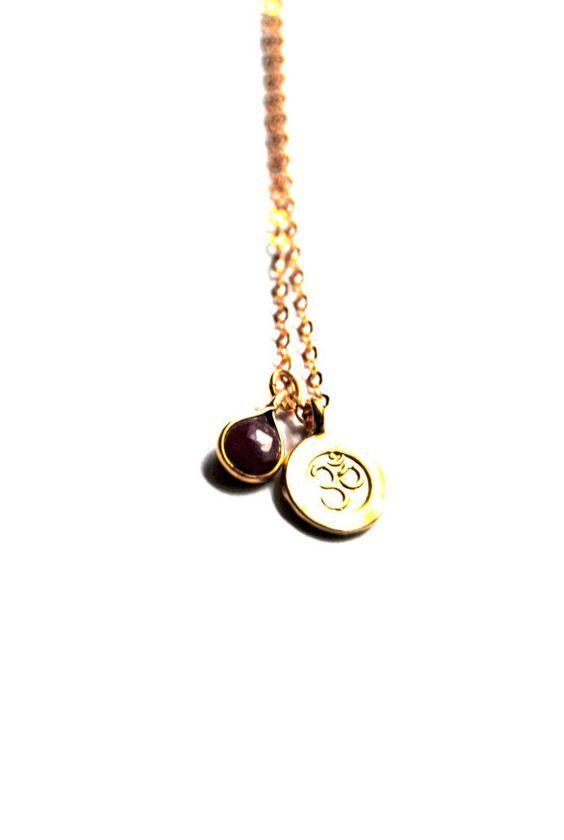 Red sapphire necklace sapphire necklace with ohm by AshaJewellery