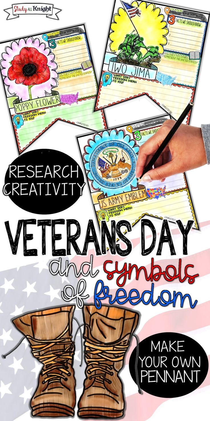Teaching Veterans Day | English Language Arts | U.S. History | Grades 4, 5, 6, 7, 8, 9, 10, 11, 12 | This Veterans Day pennant is all you need to teach and promote American symbols of freedom, the meaning of freedom, and the meaning of Veterans Day. Veterans Day is in November. The Veterans Day pennant is a research activity. There is a location and facts fill in, a symbol of freedom question, and a personal reflection on freedom writing prompt. #veteransday