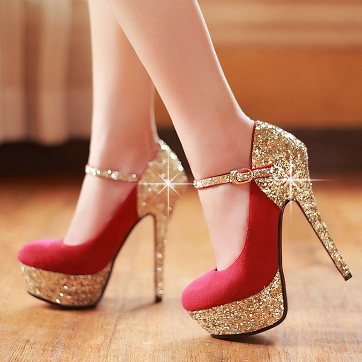 Bridal shoes new fashion elegant paillette women's high heels platform wedding shoes red bottom shoes heeled shoes women pumps 5 $119.20