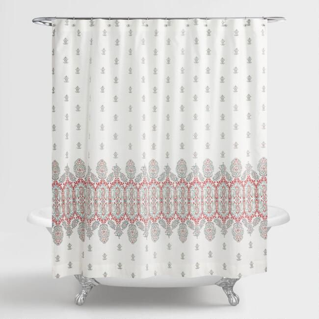 Aqua and Coral Indian Devi Shower Curtain - v1