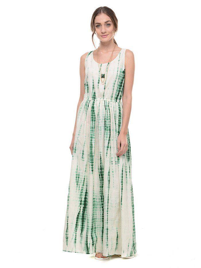 Green Off White Tie and Dye Cotton Maxi
