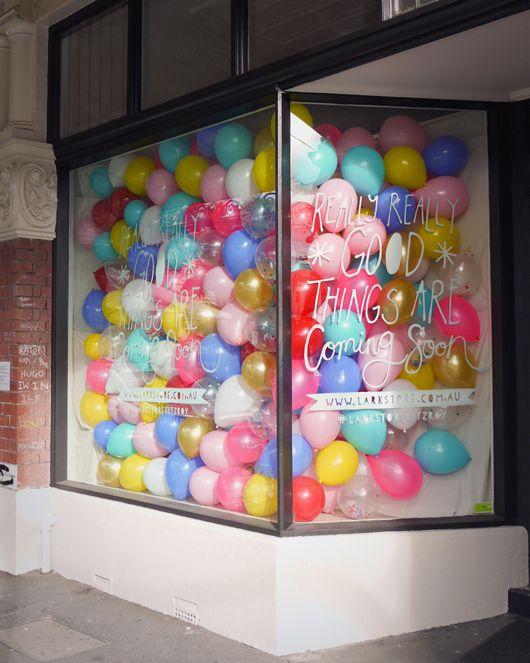 """""""COMING SOON"""" Balloon window display"""