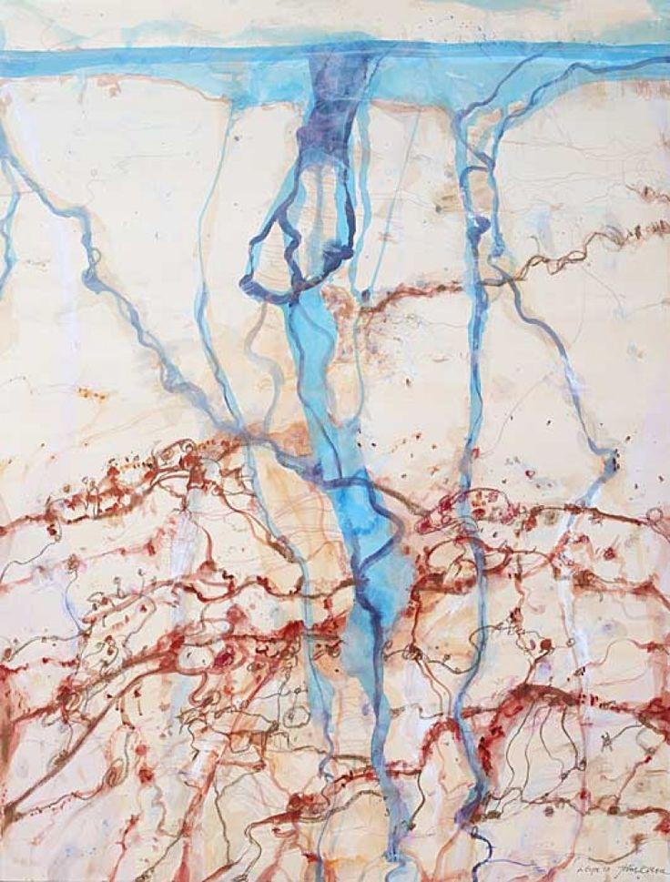John Olsen, Warburton River Groove, Mixed media on paper,
