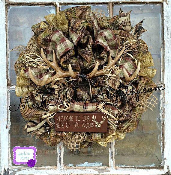 Hunting deco mesh wreath all season wreath summer by MeshMebyAng