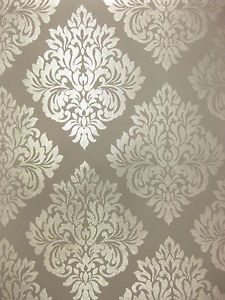 Damask Glitter Sparkle Charcoal Grey Gray Silver Wallpaper