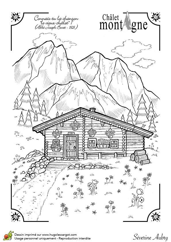Dessin d'un beau chalet d'hiver dans la montagne, coloriage pour enfants