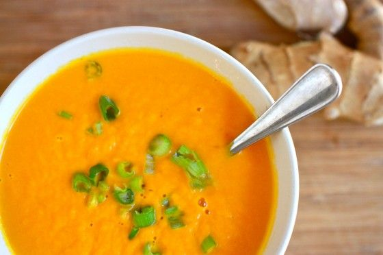 Carrot Ginger Soup                                                                  1 lb carrots, peeled and chopped    2 T minced fresh ginger    1 shallot, minced    2 cups vegetable or chicken broth    1/2 tsp salt    1/4 tsp coriander    1 T olive oil: Food Recipes, Carrot Ginger Soup, Healthy Eating, Soups Recipes, Recipes Tasting, Gingers Carrots Soups, Carrots Gingersoup, Eating Soups, Delicious Food