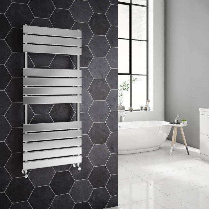 Brenton Swift Chrome Straight Heated Designer Towel Rail - H1200 x W500mm