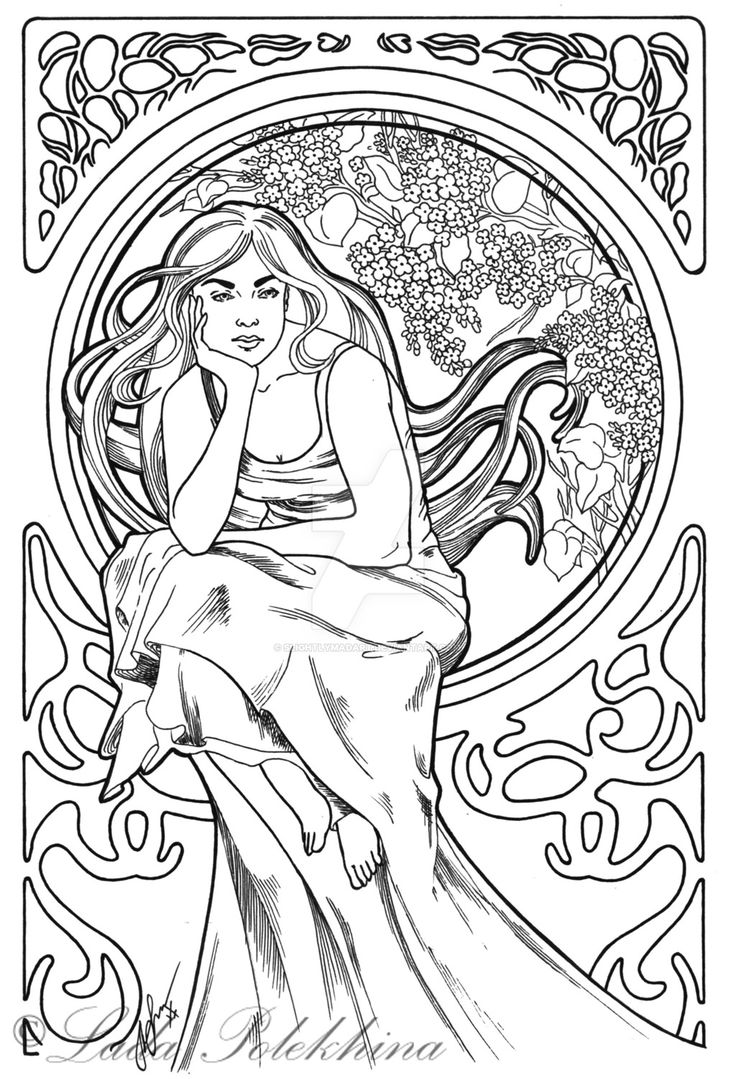 190 best images about Art Nouveau Coloring Pages on ...